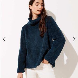 Faux Sherpa cowl neck sweater